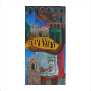 Art work by Rodolfo Morales, ABRAZANDO AL PUEBLO, painting, 124 x 62 cm