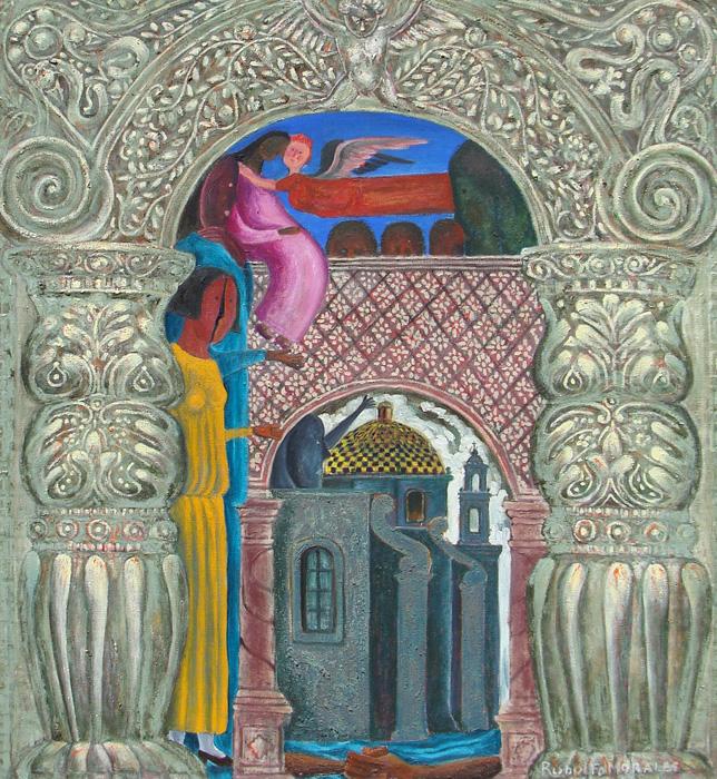 Art work by Rodolfo Morales, ANGEL ROJO, painting, 100 x 90 cm