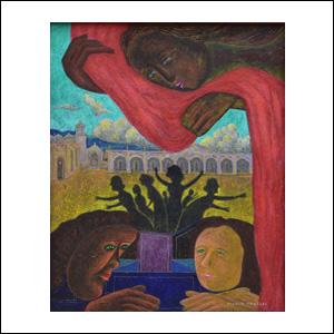Art work by Rodolfo Morales, ATRÁS DEL TELÓN, painting, 100 x 80 cm