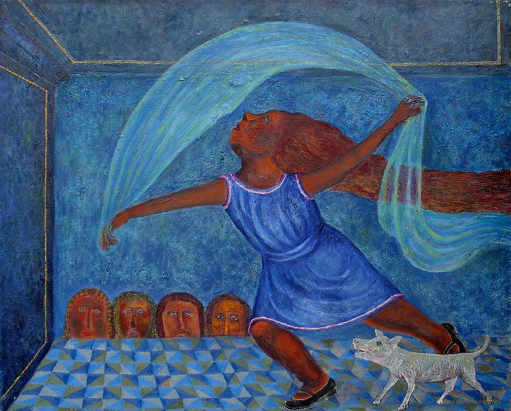 Art work by Rodolfo Morales, Danza de la Luna, painting, 80 x 100 cm