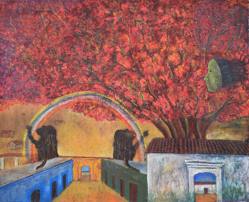 Art work by Rodolfo Morales, The Pact, painting, 33 3/4 x 41 3/4 inches (86 x 106 cm)
