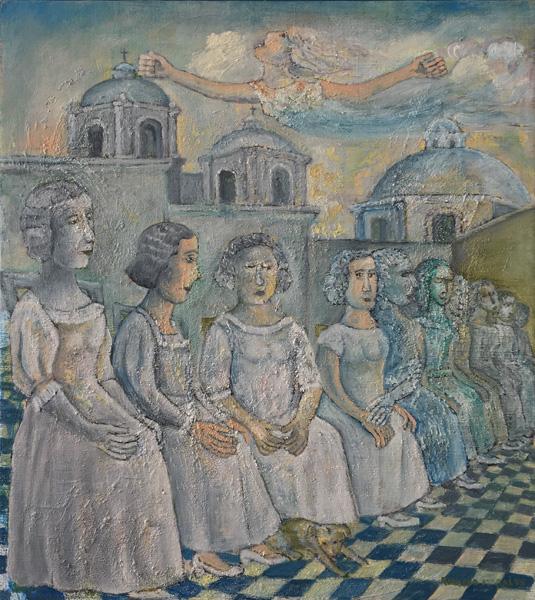 Art work by Rodolfo Morales, En Blanco (In White), painting, 27 1/2 x 24 in (70 x 62 cm)