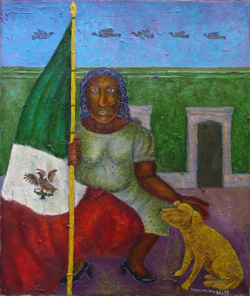Art work by Rodolfo Morales, FRUTO DE NOPAL, painting, 150 x 120 cm
