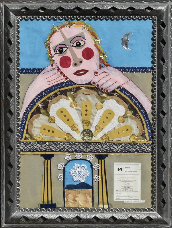 Art work by Rodolfo Morales, Interpretación del Abanico, painting, 19 5/8 x 13 6/8 inches (50 x 35 cm)