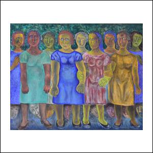 Art work by Rodolfo Morales, LAS CURIOSAS, painting, 80 x 100 cm