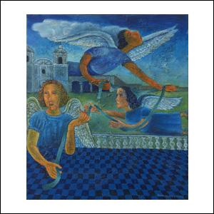 Art work by Rodolfo Morales, Listón de Amanecer (Dawn Strip), painting, 28 1/4 x 24 in (72 x 62 cm)