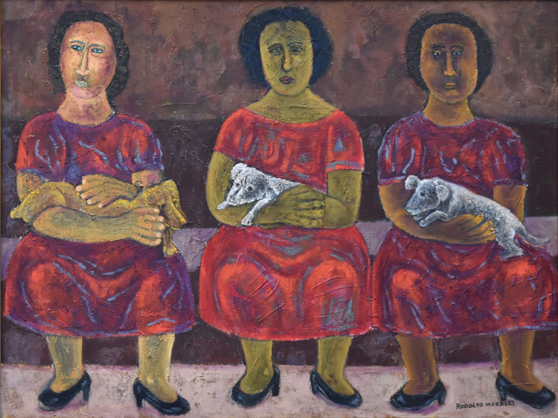 Art work by Rodolfo Morales, MUJERES CON PERROS (1), painting, 75 x 100 cm