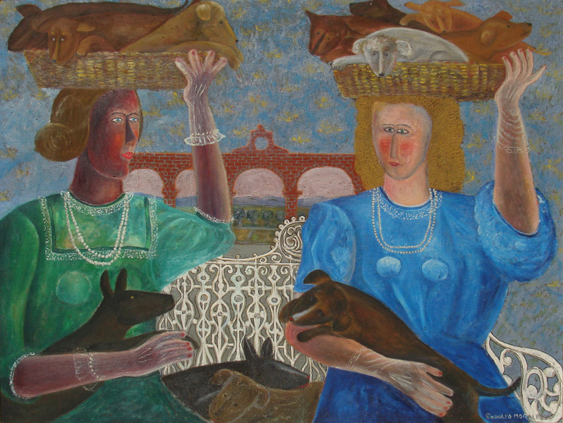 Art work by Rodolfo Morales, MUJERES CON PERROS, painting, 100 x 130 cm