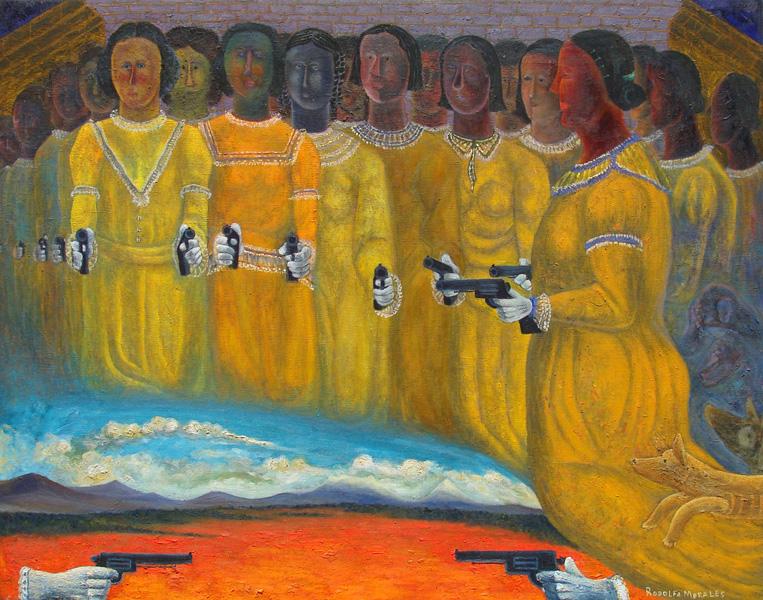 Art work by Rodolfo Morales, MUJERES DE ARMAS TOMAR, painting, 100 x 130 cm