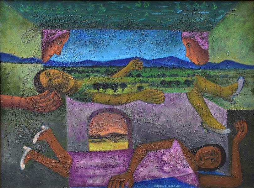 Art work by Rodolfo Morales, Sleeping Women, painting, 29.5 x 39.25 in (75 x100 cm)