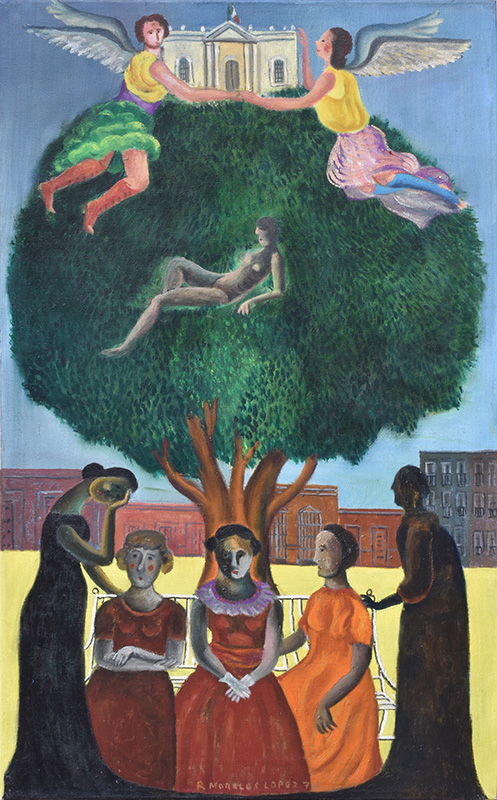 Art work by Rodolfo Morales, Women in the park, painting, 31 1/4 x 19 1/2 inches (79.5 x 50 cm)