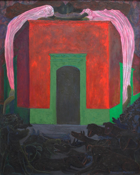 Art work by Rodolfo Morales, Nocturnal (Nocturno), painting, 39.5 x 31.5 in (100 x 80 cm)