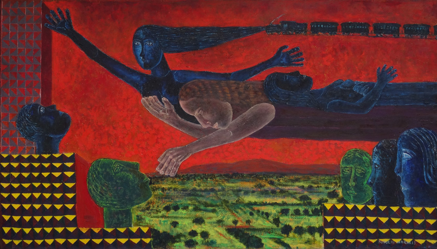 Art work by Rodolfo Morales, PAISAJE CON FERROCARRIL, painting, 104 x 180.7 cm