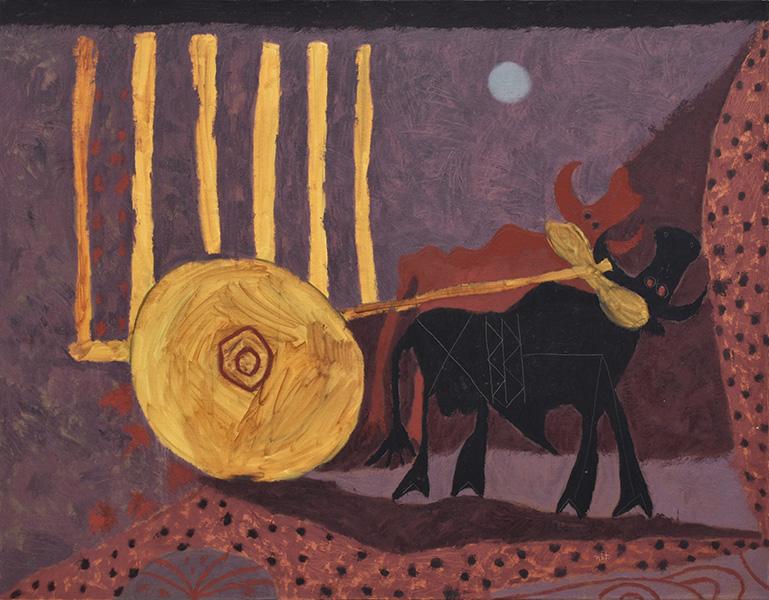 Art work by Rodolfo Nieto, Carreta con Bueyes, painting, 44 3/4 x 57 1/2 inches (114 x 146 cm)