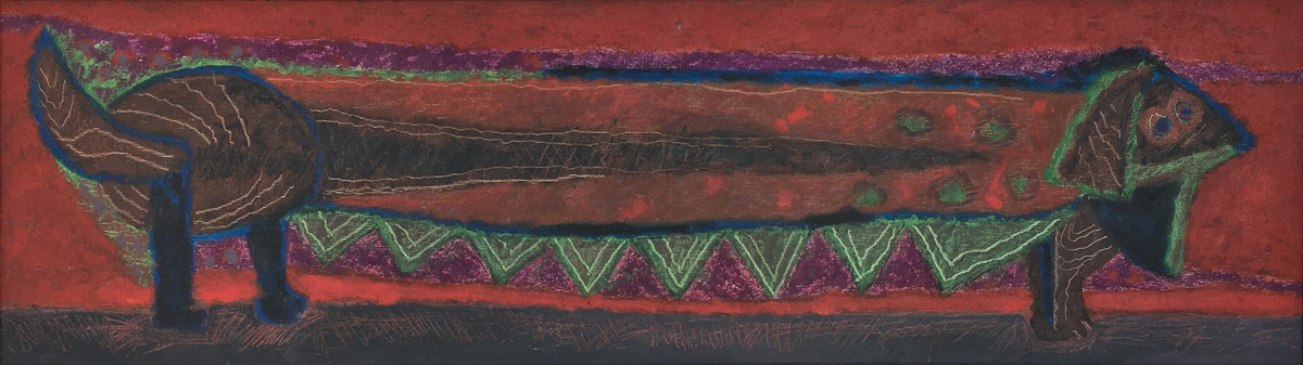 Art work by Rodolfo Nieto, Wiener-Dog (Perra Salchicha), painting, 13.5 x 47 inches (35 x 120 cm)