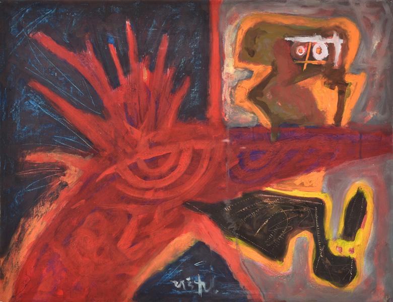Art work by Rodolfo Nieto, Untitled, painting, 19.25 x 25.5 in (49 x 65 cm)