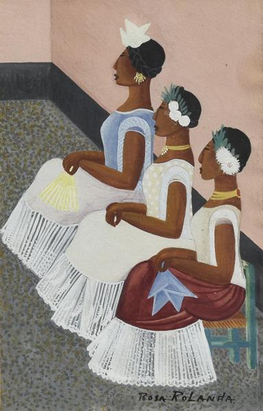Art work by Rosa Rolanda, Tehuanas, painting, 10 1/4 x 6 3/4 in (26 x 17 cm)