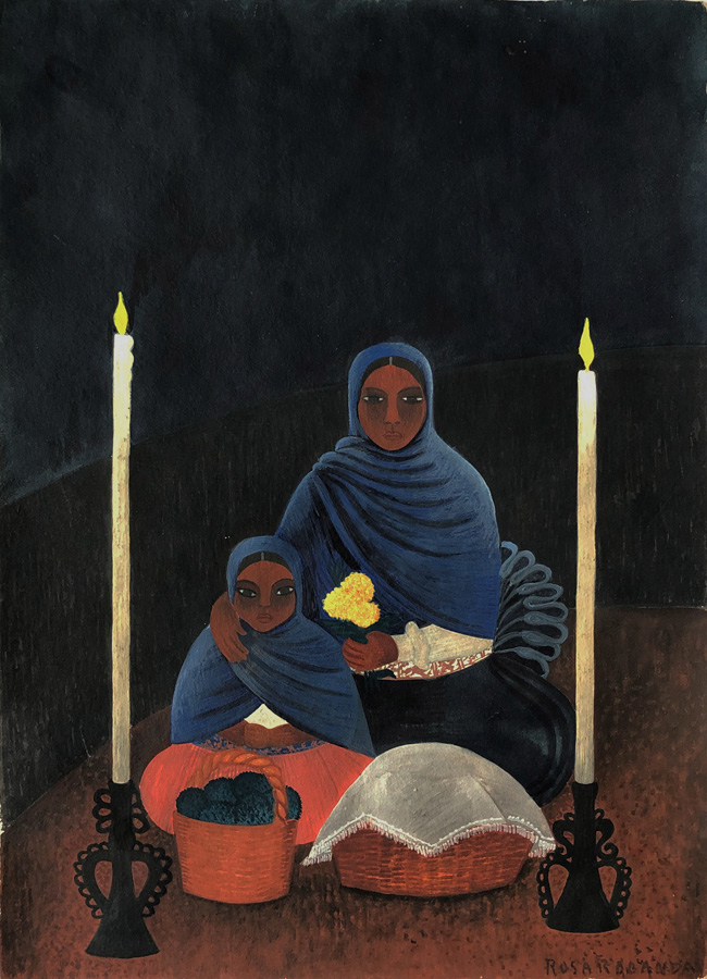 Art work by Rosa Rolanda, Peasant Mother and Child (Day of the Dead, Patzcuaro, Michoacan), painting, 14 x 10 in (35.4 x 25.2 cm)