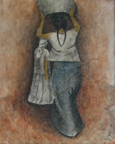 Art work by Rufino Tamayo, Two women, painting, 53 x 38 cm aprox.