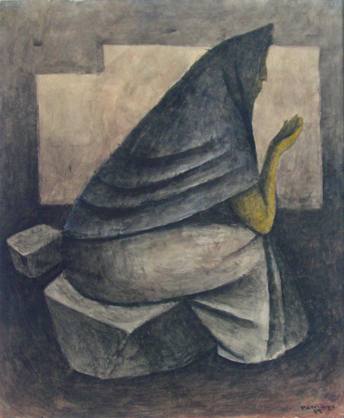 Art work by Rufino Tamayo, Woman with shawl, painting, 42.5 X 34.5 CM