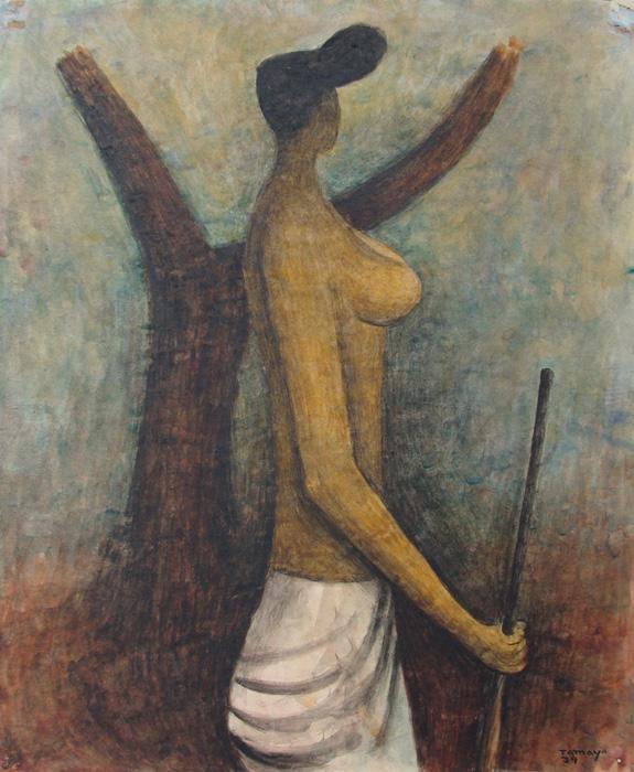 Art work by Rufino Tamayo, Women of Tehuantepec, painting, 42.6 X 35.1cm