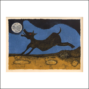 Art work by Rufino Tamayo, Dog Barking at the Moon, painting, 26 x 34 inches (66 x 86 cm)