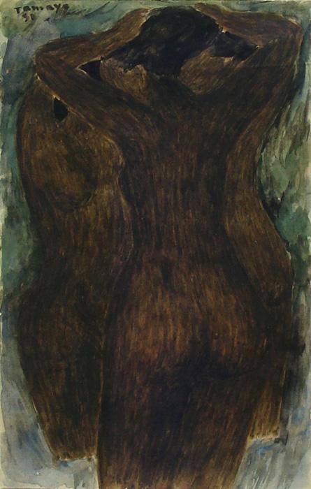 Art work by Rufino Tamayo, Three Bathers, painting, 27 x 17 cm