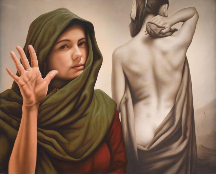 Art work by Santiago Carbonell, Deja Vú, painting, 57 1/4 x 71 in (145.5 x 180.5 cm)