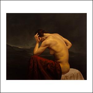 Art work by Santiago Carbonell, Mujer reclinada de paisaje oscuro, Recuerdo Neoclásico, painting, 39.25 x 47.25 inches (100 x 120 cm)