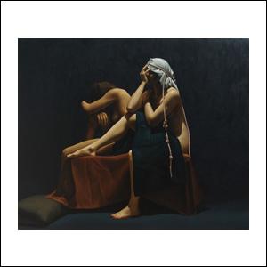 Art work by Santiago Carbonell, Mujeres al Borde del Negro del Mar, painting, 47.25 x 55 in (120 x 140 cm)