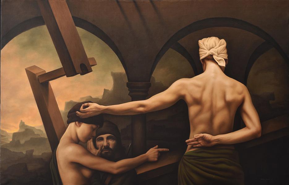 Art work by Santiago Carbonell, Nuevas Poses Místicas, painting, 110 x 170 cm