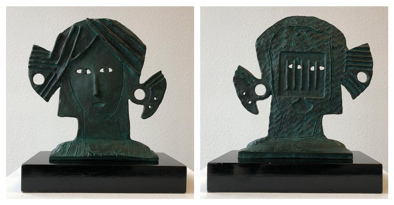 Art work by Sergio Hernandez, Self-Portrait with Portrait, sculpture, 12 x 12 x 3 in (31 x 30.5 x 8 cm)