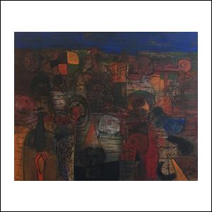 Art work by Sergio Hernandez, Tzompantli, painting, 51 x 63 in (130 x 160 cm)