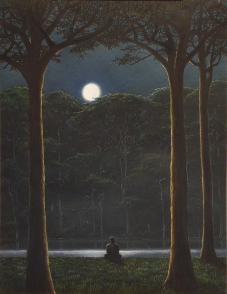 Art work by Tomas Sanchez, Lugar de Meditación, painting, 25 1/2 x 19 1/2 in (65 x 50 cm)