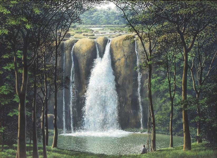 Art work by Tomas Sanchez, Oidor de cascadas (Listener of Waterfalls), painting, 22 x 30 in (56 x 76 cm)
