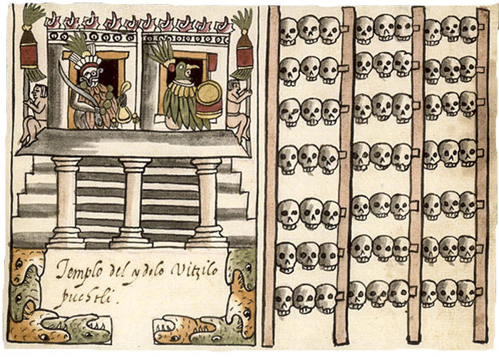 Tzompantli depicted on Tovar Codex