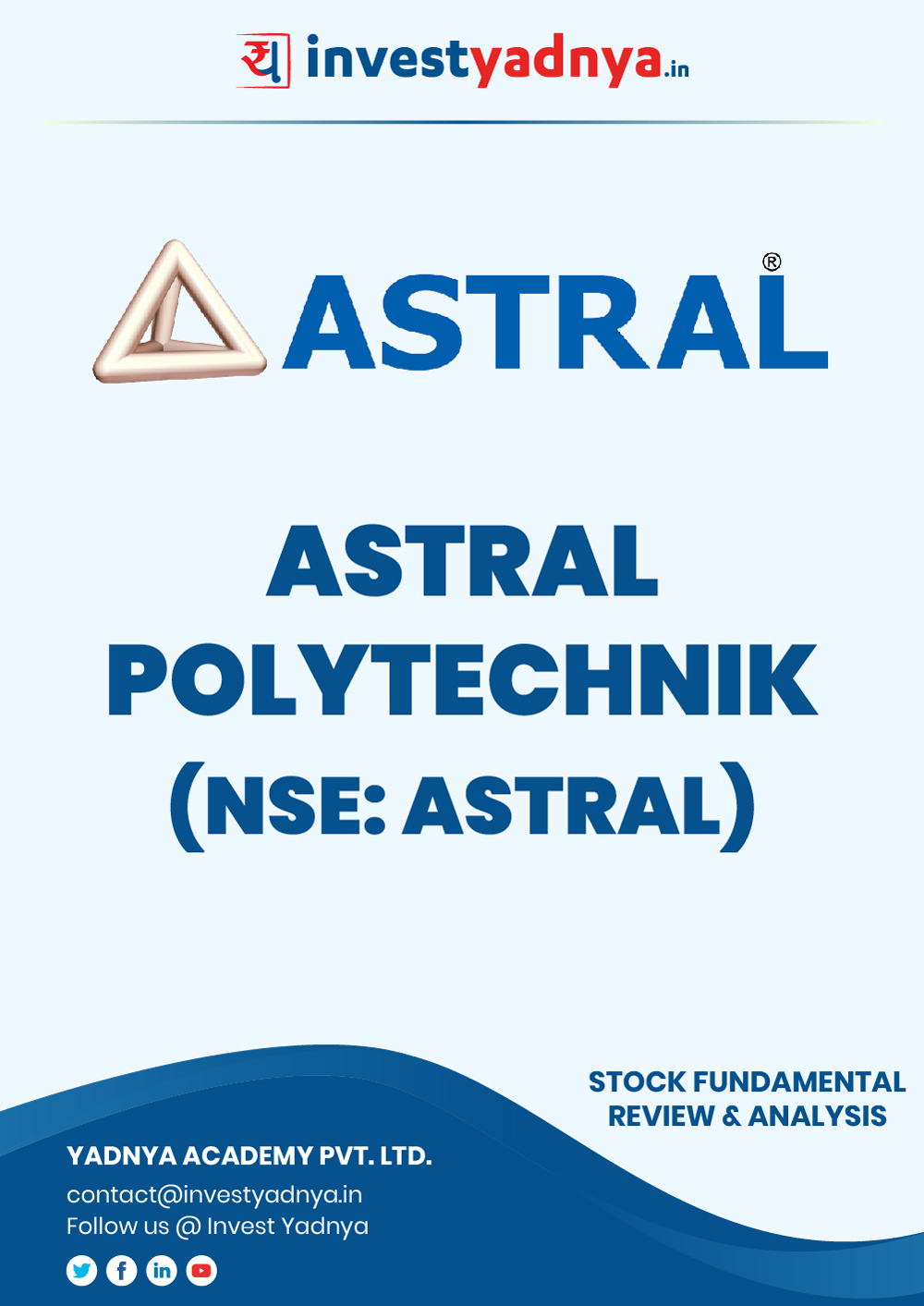 Astral Poly Technik Ltd. company/Stock Review & Analysis based on Q22019-20 and FY2018-19 data. The book contains Fundamental Analysis of the company considering both Quantitative (Financial) and Qualitative parameters. Book is updated as on 20th Nov, 2019.