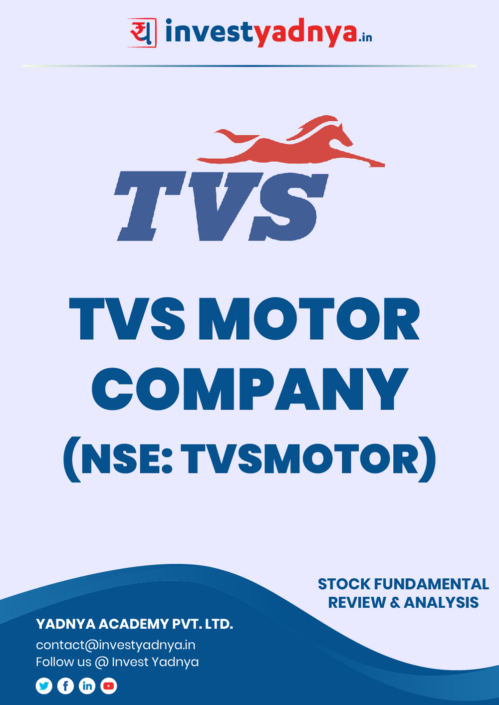 TVS Motor Company Ltd. company/Stock Review & Analysis based on Q22019-20 and FY2018-19 data. The book contains Fundamental Analysis of the company considering both Quantitative (Financial) and Qualitative parameters. Book is updated as on 2nd Dec, 2019.