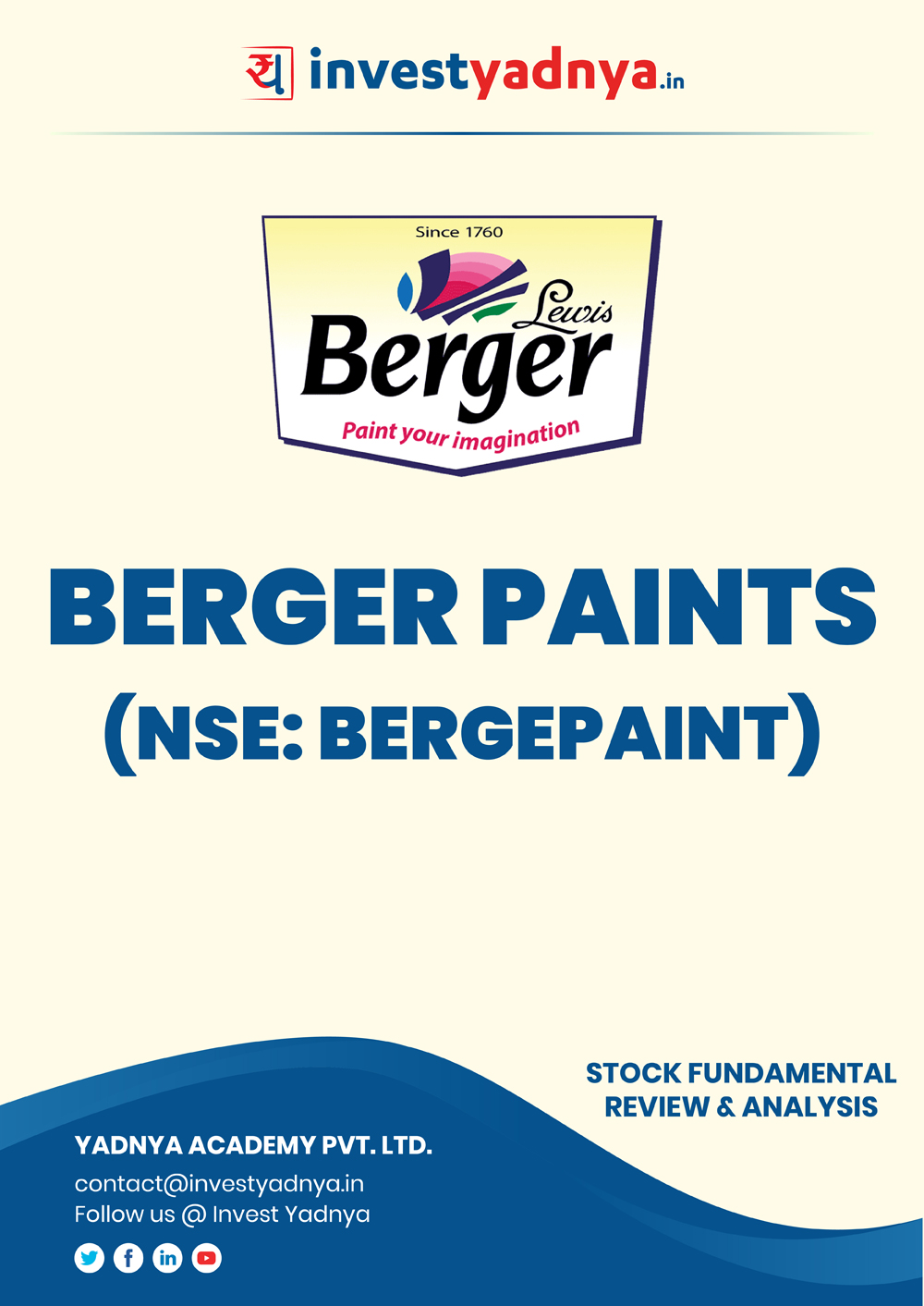 This e-book contains in-depth fundamental analysis of Berger Paints India Ltd. considering both Financial and Equity Research Parameters. It reviews the company, industry shareholding pattern, financials, governance and annual performance. ✔ Detailed Research ✔ Quality Reports