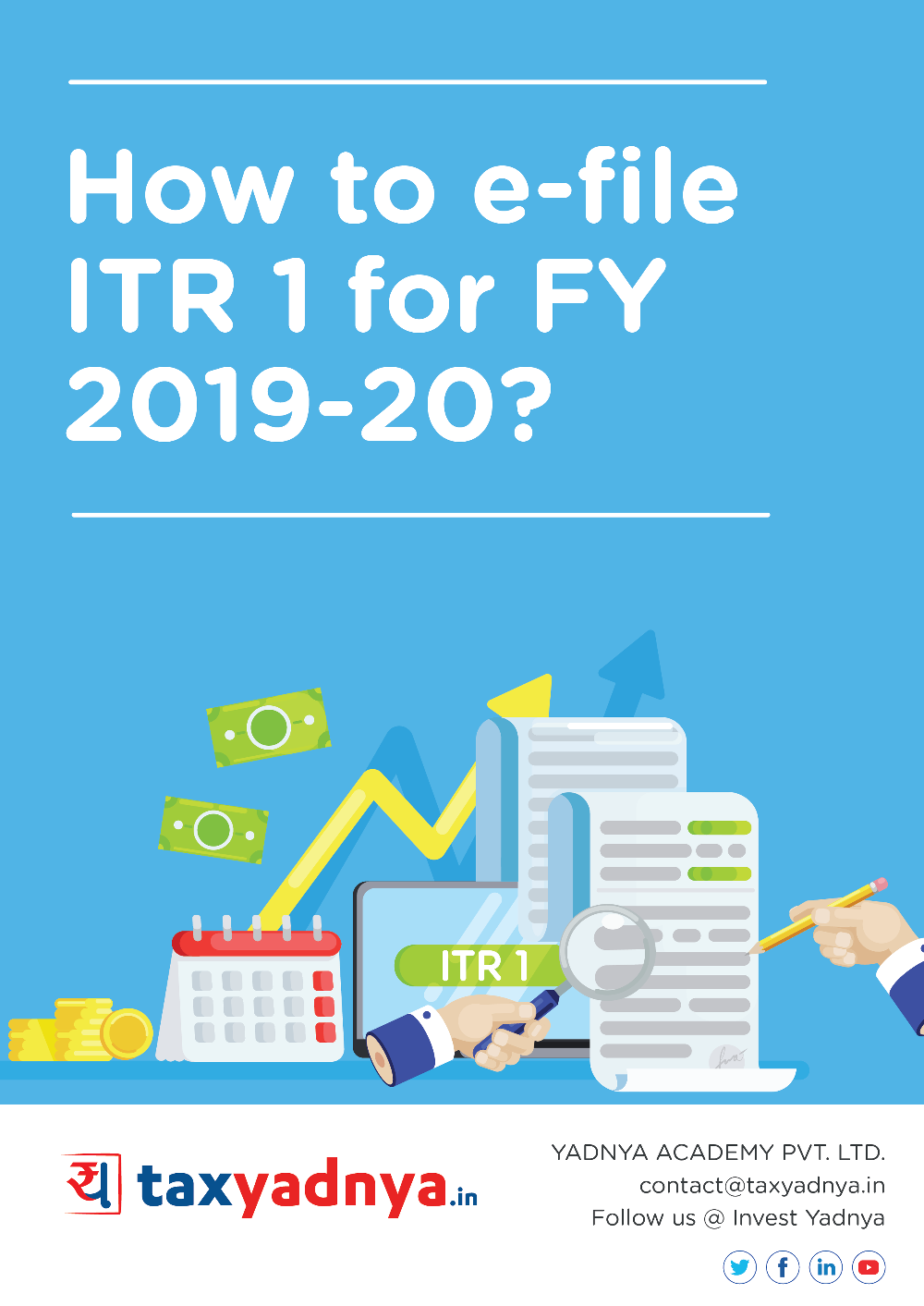This e-book contains a guide as to how to file income tax return using ITR1 form for FY 2019-20. This self-help guide helps in complete ITR1 filing process through the income tax website. ✔ Detailed Research ✔ Quality Reports