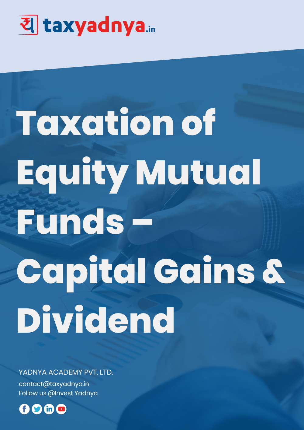This eBook contains details about Capital Gain taxation of Equity Mutual Funds as well as Dividend Taxation on Equity Mutual Funds. Concept is explained with more than 15 different EXAMPLES on various scenarios. eBook also talks about how the Capital Gain works if the investor is below Basic Exemption limit of Income Tax in detail.