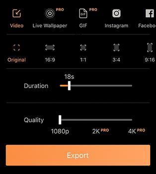 Export options in Pixoop app