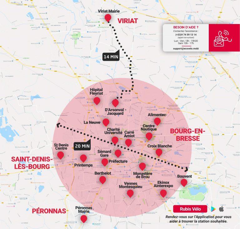 Carte des 19 stations Rubis'Vélo