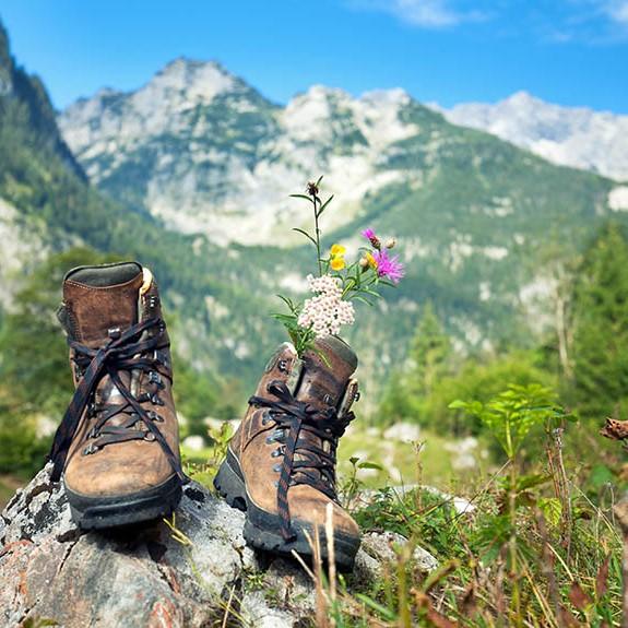 Wanderschuhe im Gebirge