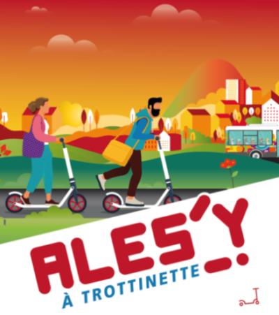 visuel promotionnel du service Ales'Y à trottinette qui représente deux personnes qui circulent en trottinette dans un milieu urbain