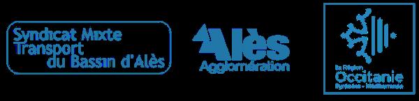 logo institutionnels du SMTBA, Alès Agglomération et de la région Occitanie