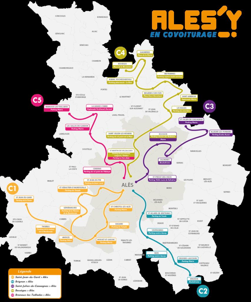 Plan des lignes de covoiturage qui parcours l'ensemble du territoire de SMTBA, agglomération d'Alès