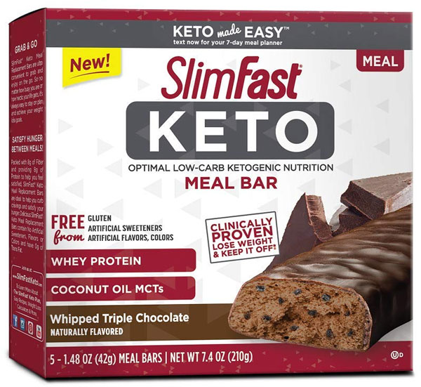 SlimFast Keto Meal Replacement Bar Whipped Triple Chocolate