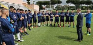 Il Ct Roberto Mancini a Formello in visita nel ritiro degli Azzurrini