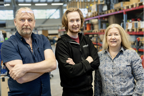 Patrik Bergholm, vd, Niklas Bergholm, Produktionsledare ochKerstin Hamberg-Bergholm, ekonomichef.